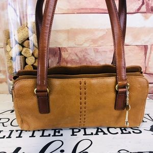 FOSSIL British Tan Pebble Leather Handbag Satchel